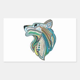 Pegatina Rectangular Ornamento étnico principal del lobo