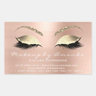 Pegatina Rectangular Oro del rosa del salón de belleza del maquillaje