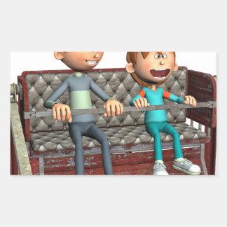 Pegatina Rectangular Padre e hijo del dibujo animado en una noria