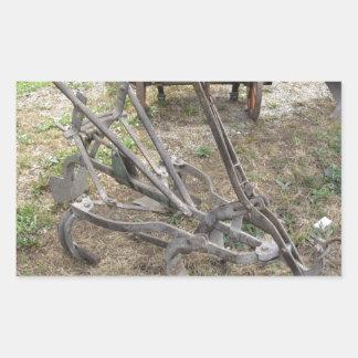 Pegatina Rectangular Paleta vieja del hierro y otras herramientas