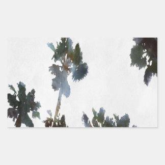 Pegatina Rectangular Palmas tropicales