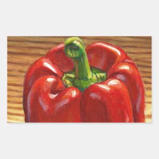 Pegatina Rectangular Paprika Rojo