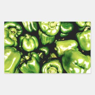 Pegatina Rectangular Paprikas Verdes