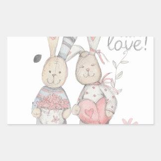 Pegatina Rectangular pares banny 2 del conejo