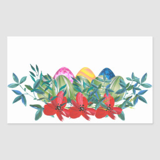 Pegatina Rectangular Pascua, flor, huevos, acuarela