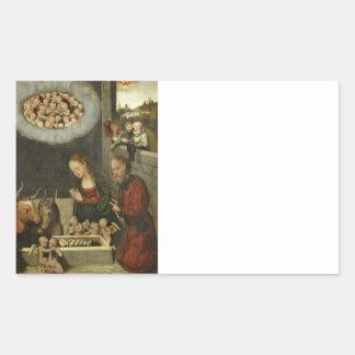 Pegatina Rectangular Pastores que adoran al bebé Jesús por Cranach