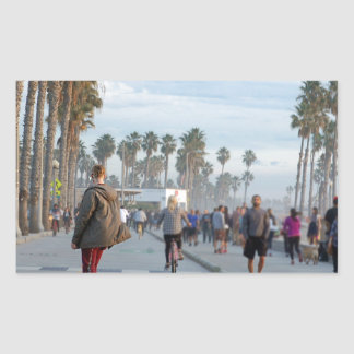 Pegatina Rectangular patinaje a la playa de Venecia