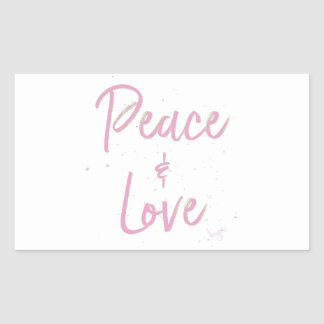 Pegatina Rectangular Paz-y-Amor-Rosado