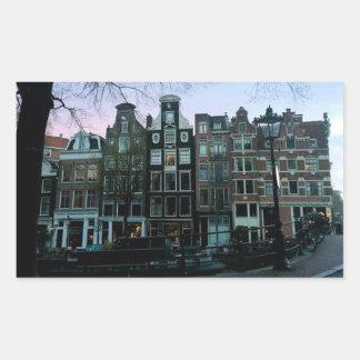 """Pegatina Rectangular """"Pegatina de Amsterdam de la puesta del sol de"""