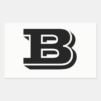 Pegatina Rectangular Pegatinas blancos de la fuente de la letra B