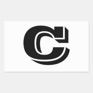 Pegatina Rectangular Pegatinas blancos de la fuente de la letra C