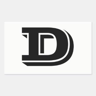 Pegatina Rectangular Pegatinas blancos de la fuente de la letra D