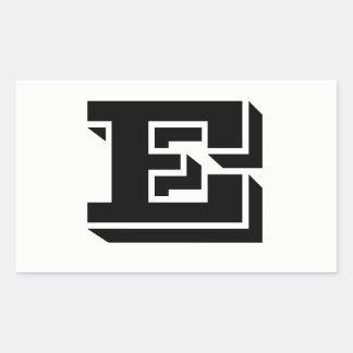 Pegatina Rectangular Pegatinas blancos de la fuente de la letra E