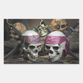 Pegatina Rectangular Pegatinas de los cráneos del pirata