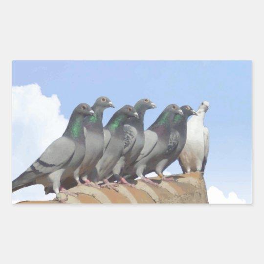 Pegatina Rectangular Pegatinas de palomas mensajeras sobre el tejado