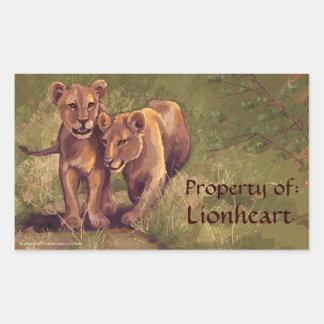 Pegatina Rectangular Pegatinas del Bookplate del arte de Cubs de león