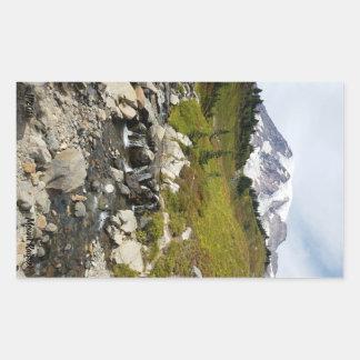 Pegatina Rectangular Pegatinas del Monte Rainier y de la corriente