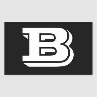 Pegatina Rectangular Pegatinas del negro de la fuente de la letra B