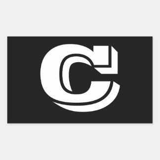 Pegatina Rectangular Pegatinas del negro de la fuente de la letra C