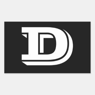 Pegatina Rectangular Pegatinas del negro de la fuente de la letra D