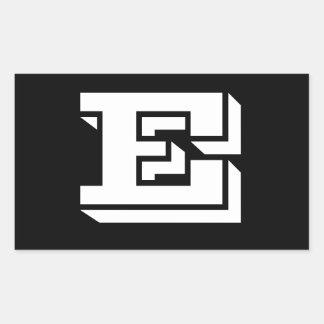 Pegatina Rectangular Pegatinas del negro de la fuente de la letra E