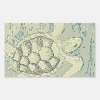 Pegatina Rectangular Pegatinas del rectángulo de la tortuga del