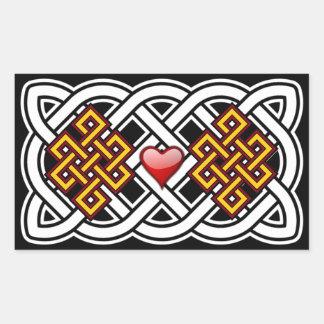 Pegatina Rectangular Pegatinas del rectángulo del nudo de amor