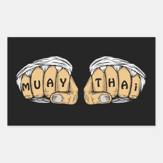 Pegatina Rectangular Pegatinas tailandeses de Muay