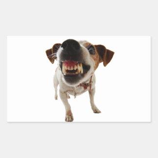 Pegatina Rectangular Perro agresivo - perro enojado - perro divertido
