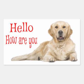Pegatina Rectangular Perro de perrito del golden retriever - hola amor