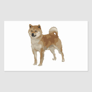 Pegatina Rectangular Perro de Shiba Inu