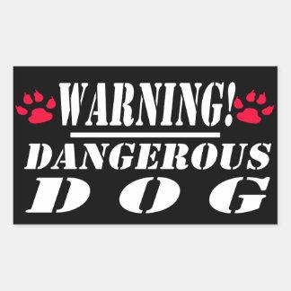 Pegatina Rectangular Perro peligroso de la señal de peligro el |