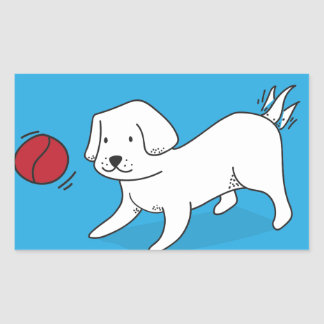 Pegatina Rectangular Perro que juega con una bola