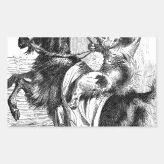 Pegatina Rectangular Perro que monta una cabra
