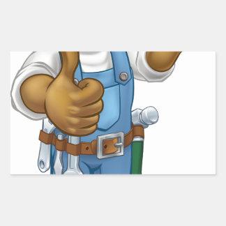 Pegatina Rectangular Personaje de dibujos animados negro del decorador