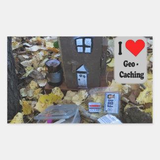 Pegatina Rectangular Piel de la caja de madera: Geocaching