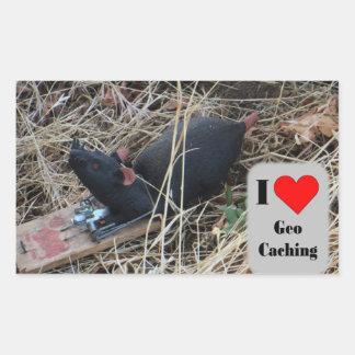 Pegatina Rectangular Piel del escondrijo de la rata: Geocaching