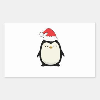 Pegatina Rectangular Pingüino de Santa