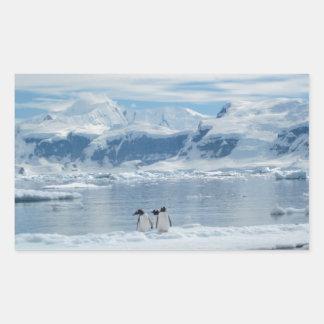 Pegatina Rectangular Pingüinos en un iceberg