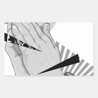 Pegatina Rectangular Pintada de rogación de las manos