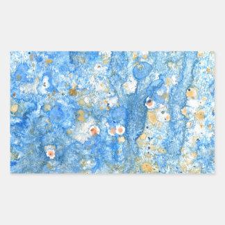 Pegatina Rectangular Pintura azul abstracta
