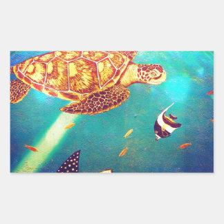 Pegatina Rectangular Pintura colorida de la tortuga de mar del océano