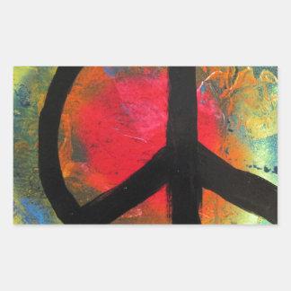 Pegatina Rectangular Pintura del signo de la paz del arco iris del arte