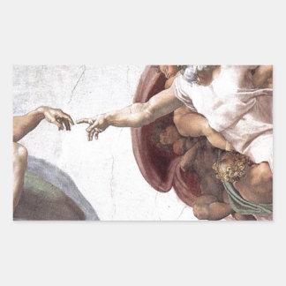Pegatina Rectangular Pintura original de Miguel Ángel en la capilla