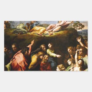 """Pegatina Rectangular Pintura original """"la transfiguración"""" Raffaello"""