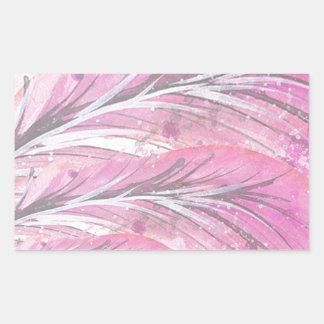 Pegatina Rectangular plumas, color de rosa ligero, elegante,
