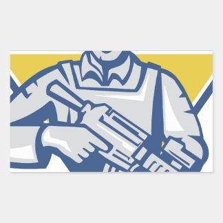 Pegatina Rectangular Poder ucraniano de la junta del ejército