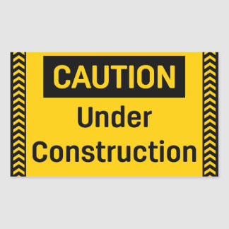 Pegatina Rectangular PRECAUCIÓN bajo construcción