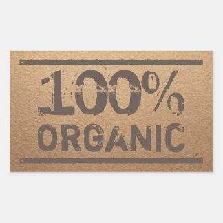 Pegatina Rectangular Producción local fresca orgánica del 100%