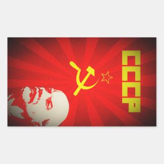 Pegatina Rectangular propa rojo comunista de Unión Soviética Lenin